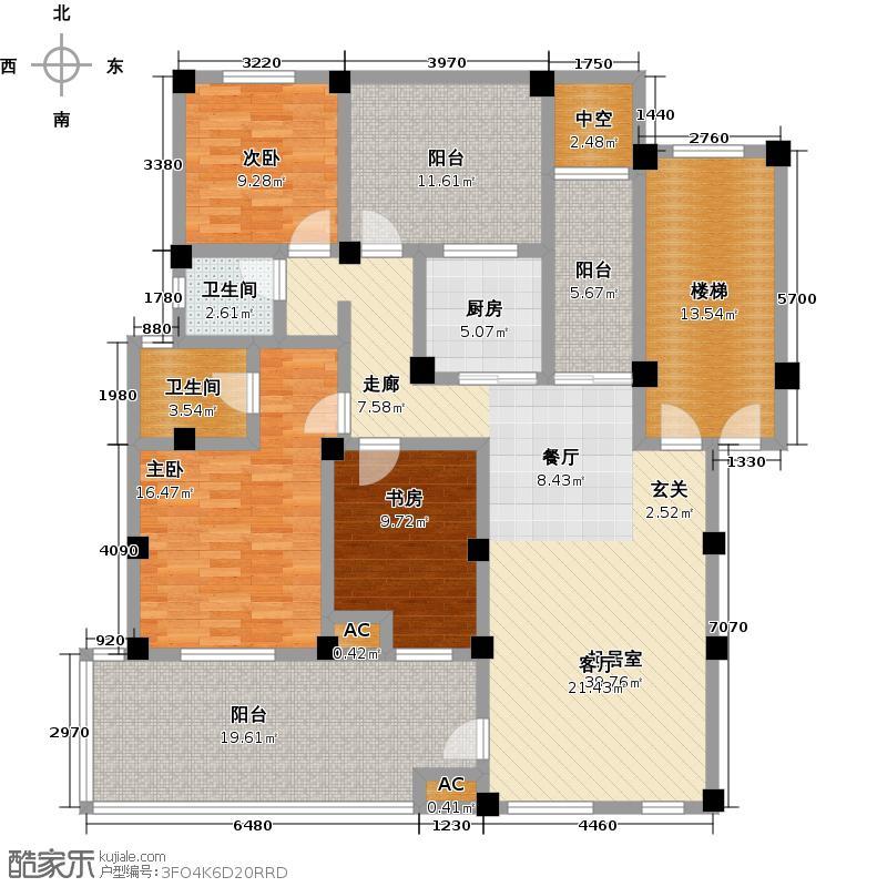 皇马花园H3面积约11639/户型3室2卫1厨