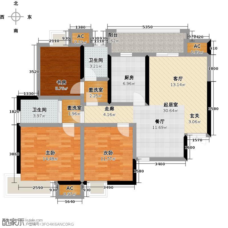 联投龙湾C1-T户型3室2卫1厨