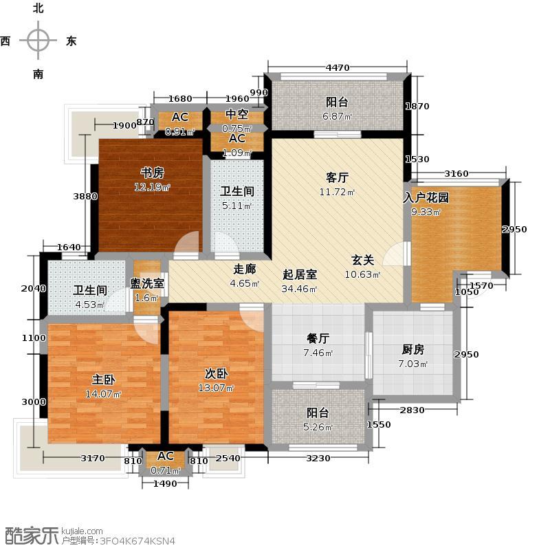 联投龙湾B1-T户型3室2卫1厨