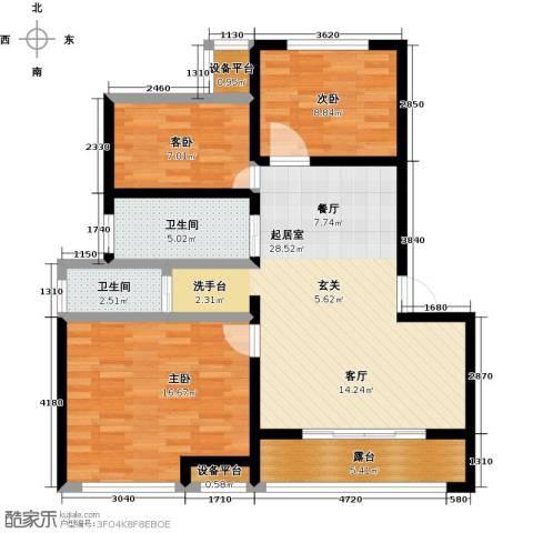 御景湾3室0厅2卫0厨89.00㎡户型图