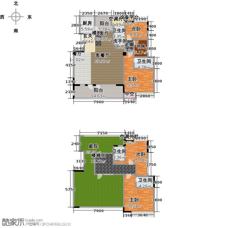 海华东盟公馆B2户型5室1厅4卫1厨