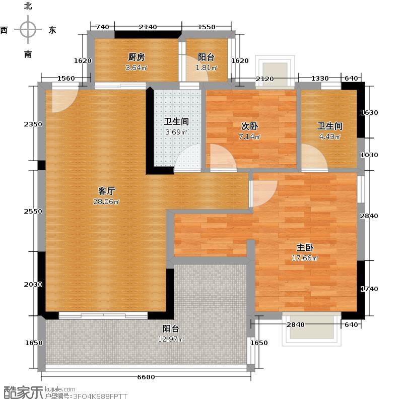 日出观山B4栋标准层01单位户型2室1厅2卫1厨