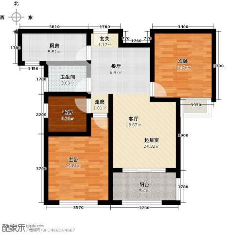 豪森名邸3室0厅1卫1厨97.00㎡户型图