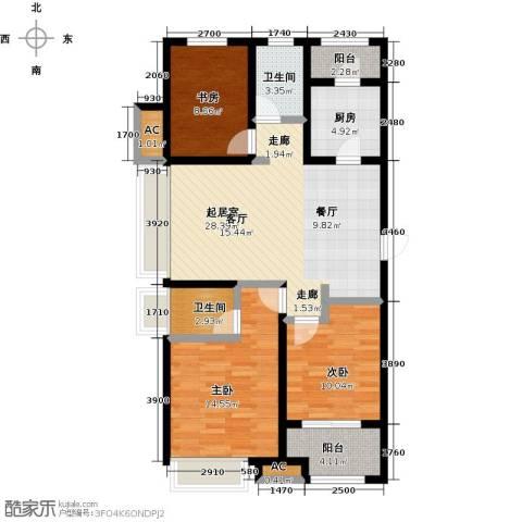 豪森名邸3室0厅2卫1厨119.00㎡户型图