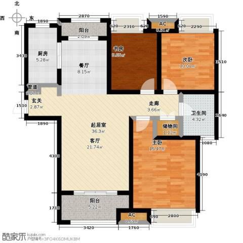 豪森名邸3室0厅1卫1厨132.00㎡户型图