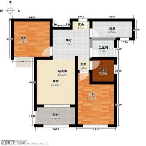 豪森名邸3室0厅1卫1厨92.00㎡户型图
