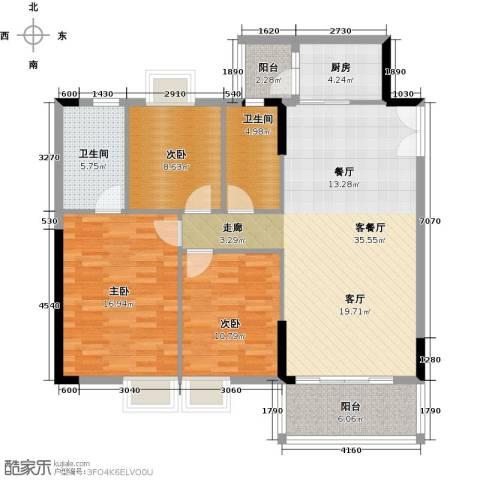 日出观山3室1厅2卫1厨133.00㎡户型图