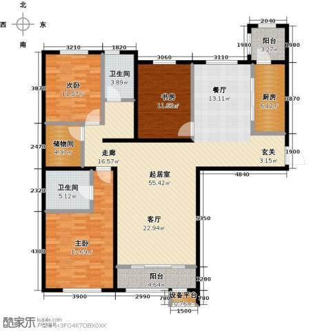 亿利城・滨河湾3室0厅2卫1厨157.00㎡户型图