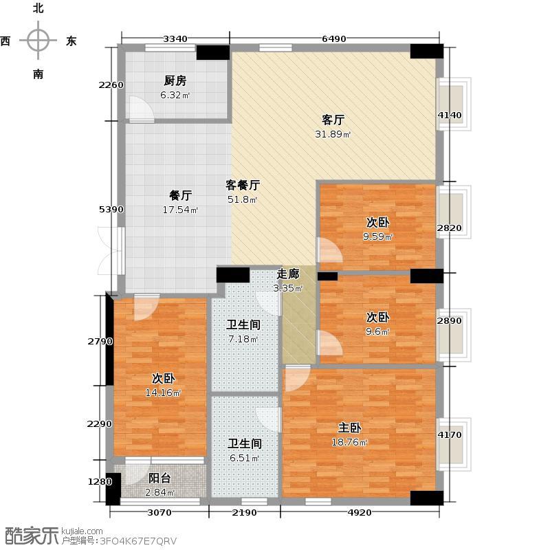 荔景华庭C栋6~15层01户型4室1厅2卫1厨