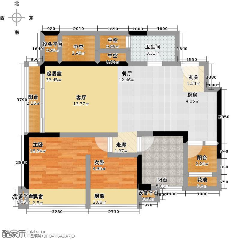 荣和山水绿城81.13㎡四期A-3户型3室2厅1卫