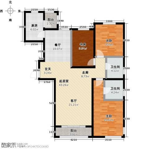 亿利城・滨河湾3室0厅2卫1厨137.00㎡户型图