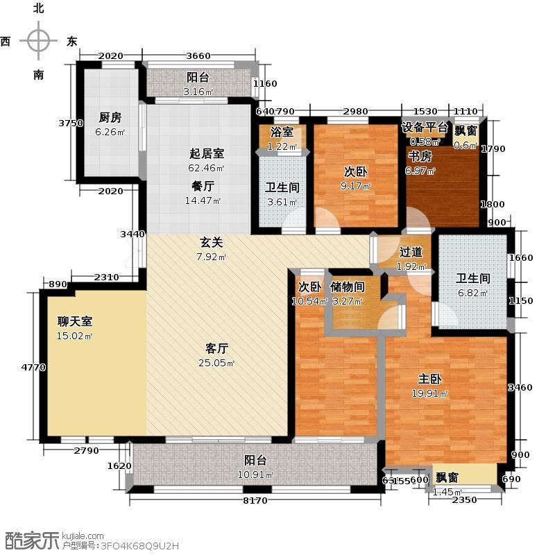 新力帝泊湾170.00㎡M户型4室2厅2卫