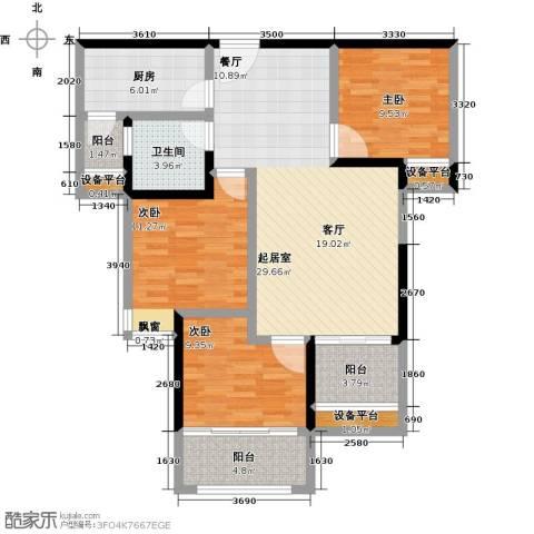 中央香榭3室0厅1卫1厨97.00㎡户型图
