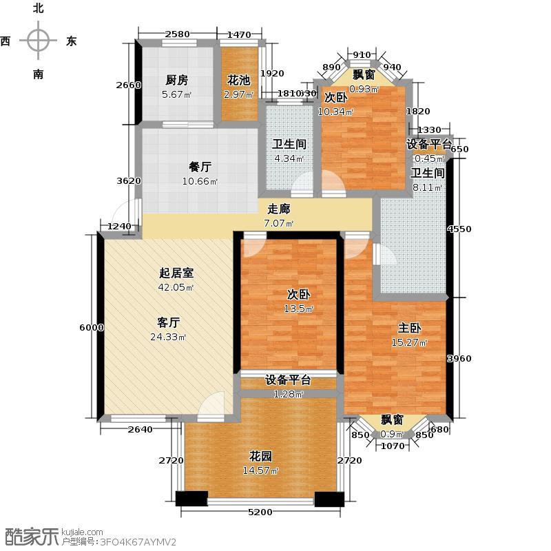 南天阳光南天阳光N016户型 三房两厅两卫 3室2厅2卫1厨户型