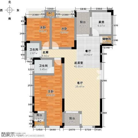 兰亭雅舍3室0厅2卫1厨128.00㎡户型图