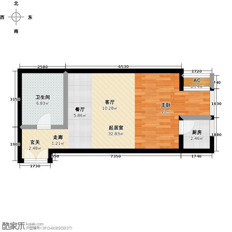 东恒盛世季48.80㎡B3-C'一室两厅一卫户型