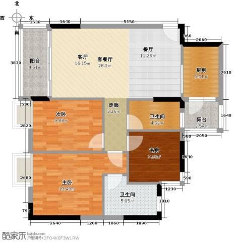 日出观山3室1厅2卫1厨113.00㎡户型图