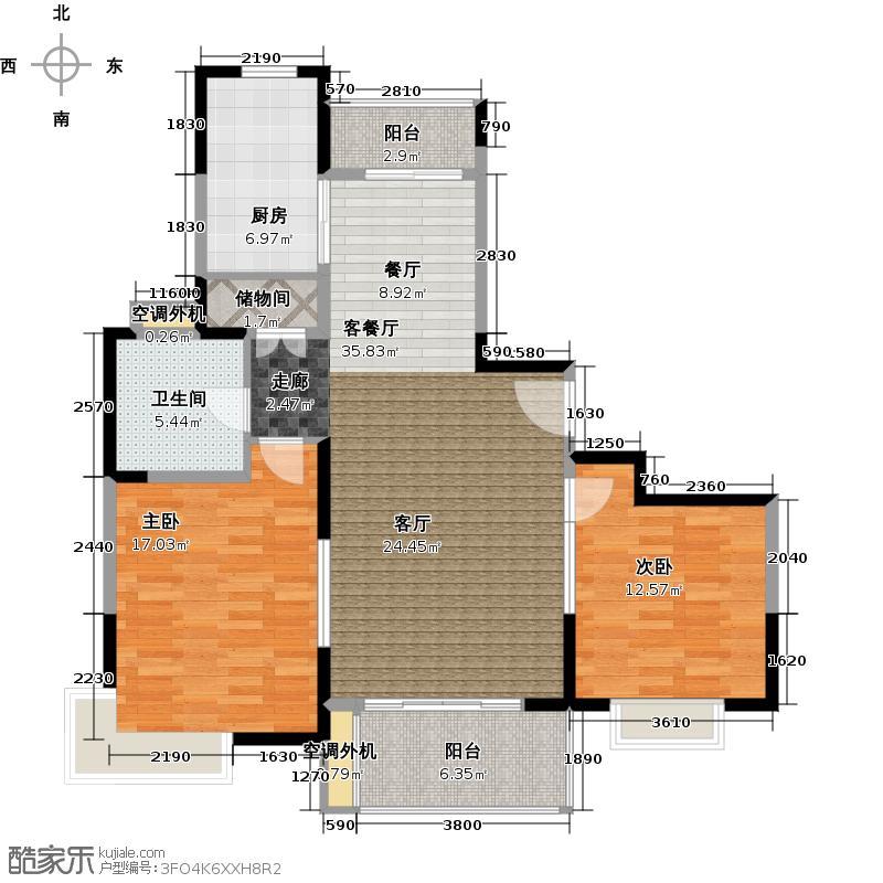 三湘四季花城(紫薇苑)106.57㎡二房二厅一卫,面积约106平方米户型
