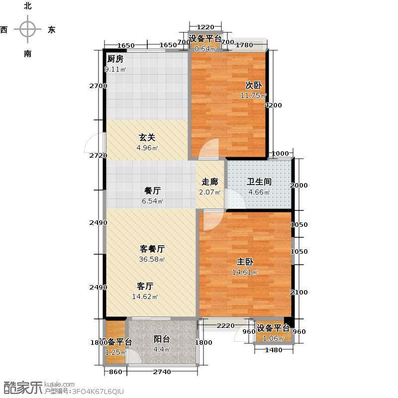 阳光福地97.25㎡5#乙单元D户型2室2厅1卫