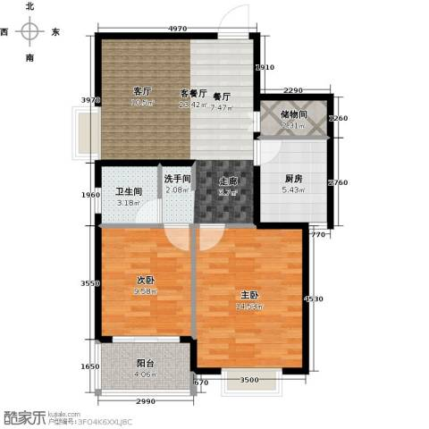 上域(逸庭苑)2室1厅1卫1厨88.00㎡户型图