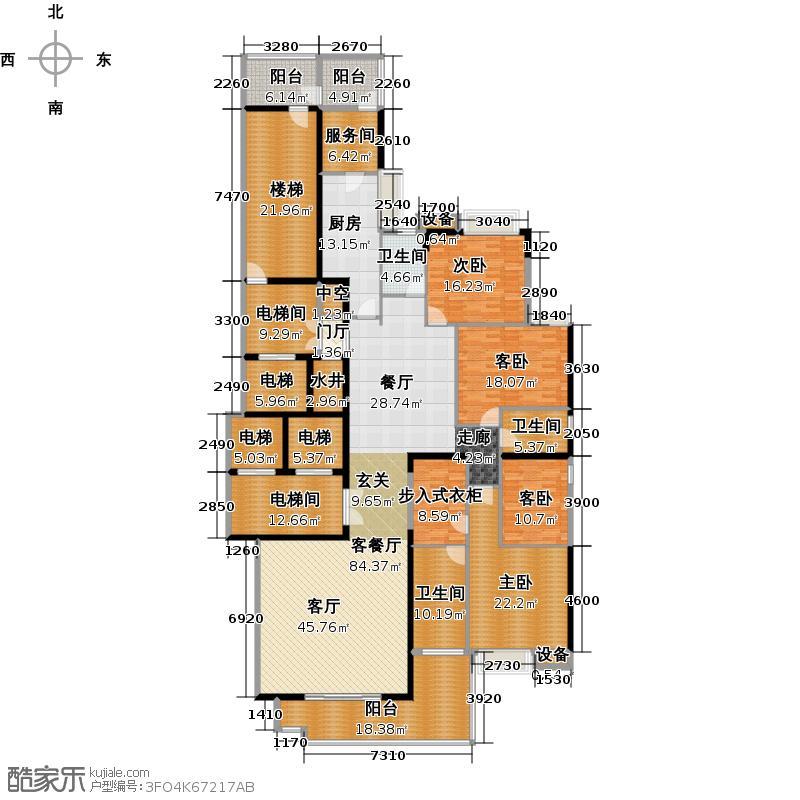 富力公园28A2栋5-12/15-30/33-40层01单元户型4室1厅3卫1厨