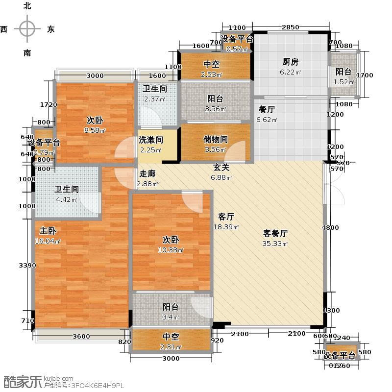 荣和大地户型3室1厅2卫1厨