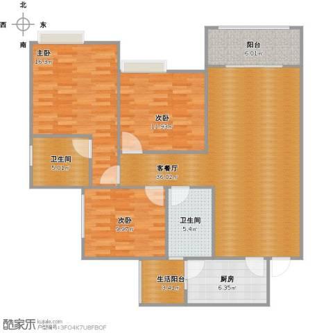 香江华府3室1厅2卫1厨135.00㎡户型图