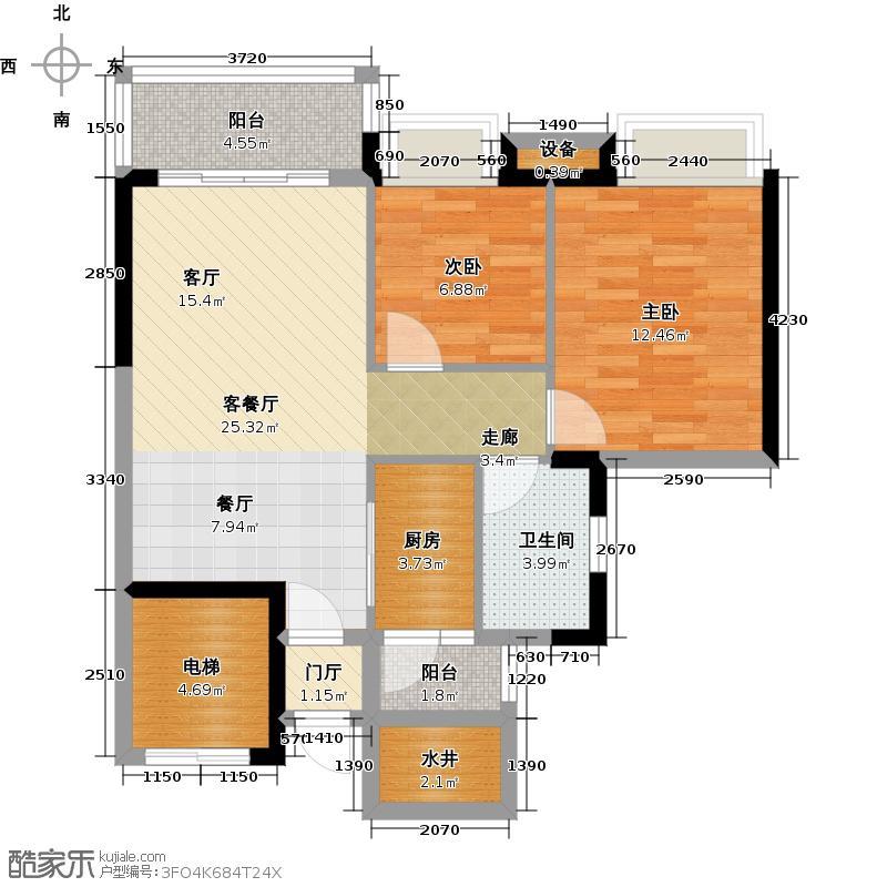 富力天禧花园A1栋04单位户型2室1厅1卫1厨