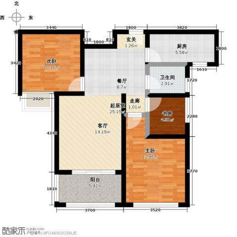 豪森名邸3室0厅1卫1厨95.00㎡户型图