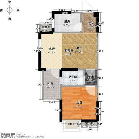 仁文大儒世家绿园1室0厅1卫1厨57.00㎡户型图