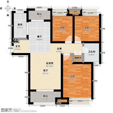 豪森名邸3室0厅1卫1厨115.00㎡户型图