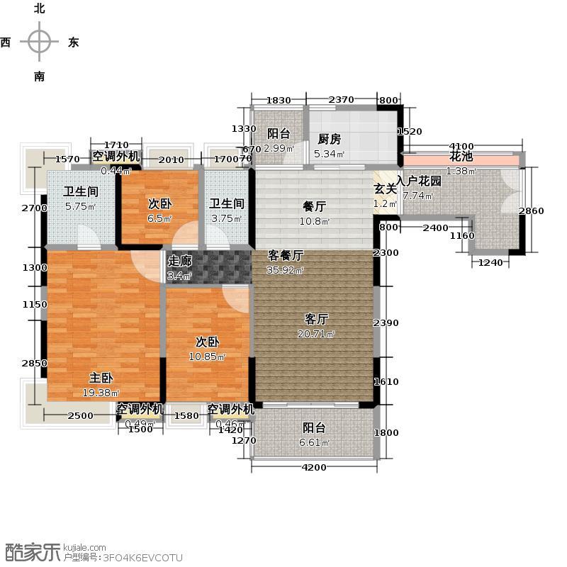 中惠璧珑湾10栋03单元户型3室1厅2卫1厨