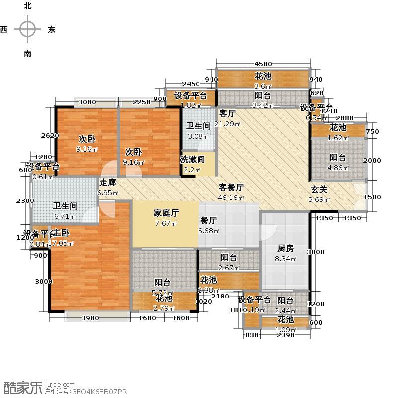 荣和大地140㎡四房户型