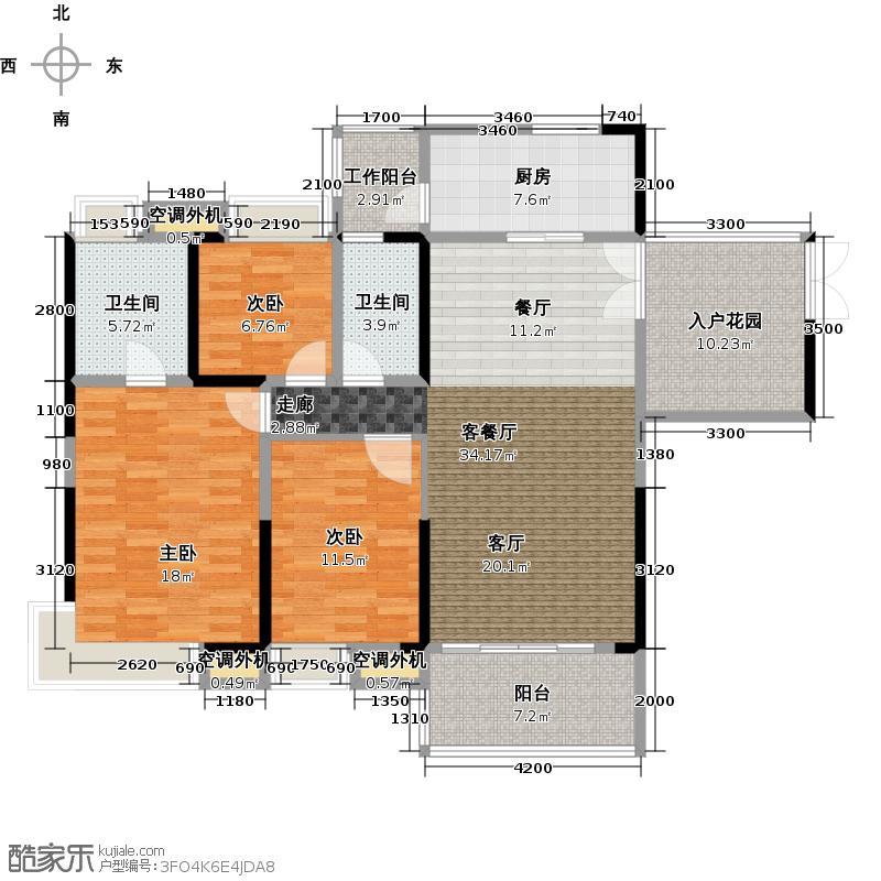 中惠璧珑湾16栋3号户型3室1厅2卫1厨