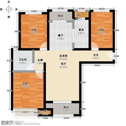 豪森名邸3室0厅1卫1厨124.00㎡户型图