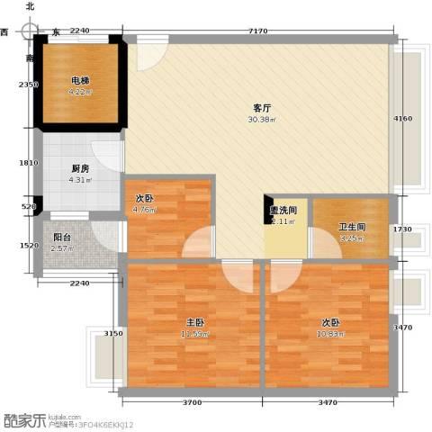 日出观山3室1厅1卫1厨81.00㎡户型图