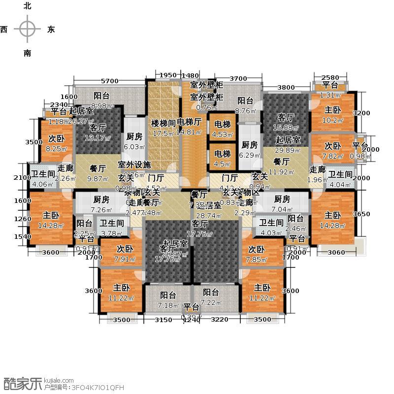 恒大绿洲2-1栋标准层平面图(89.74-109.77平米)户型
