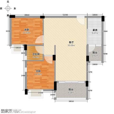 日出观山2室1厅1卫1厨83.00㎡户型图
