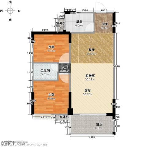 仁文大儒世家绿园2室0厅1卫1厨85.00㎡户型图