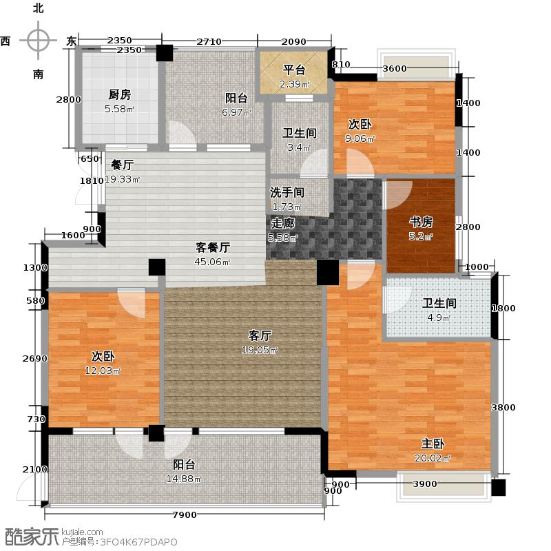 海华东盟公馆B12阳台户型4室1厅2卫1厨