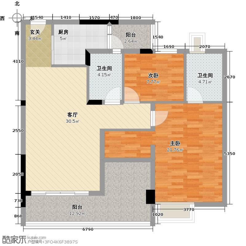 日出观山A1栋标准层01单位户型2室1厅2卫1厨