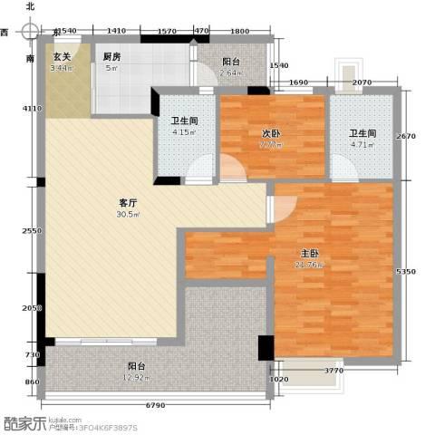 日出观山2室1厅2卫1厨102.00㎡户型图