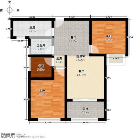 豪森名邸3室0厅1卫1厨93.00㎡户型图