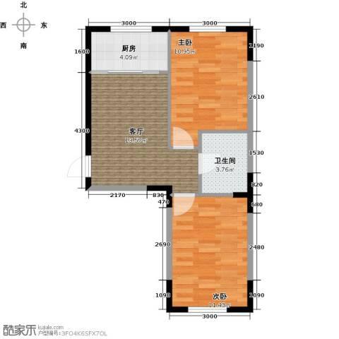 中凯梦之城2室1厅1卫1厨61.00㎡户型图