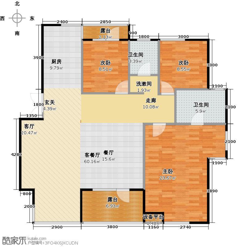 宏发华城世界三千院138.84㎡F-4-1 三室二厅二卫户型