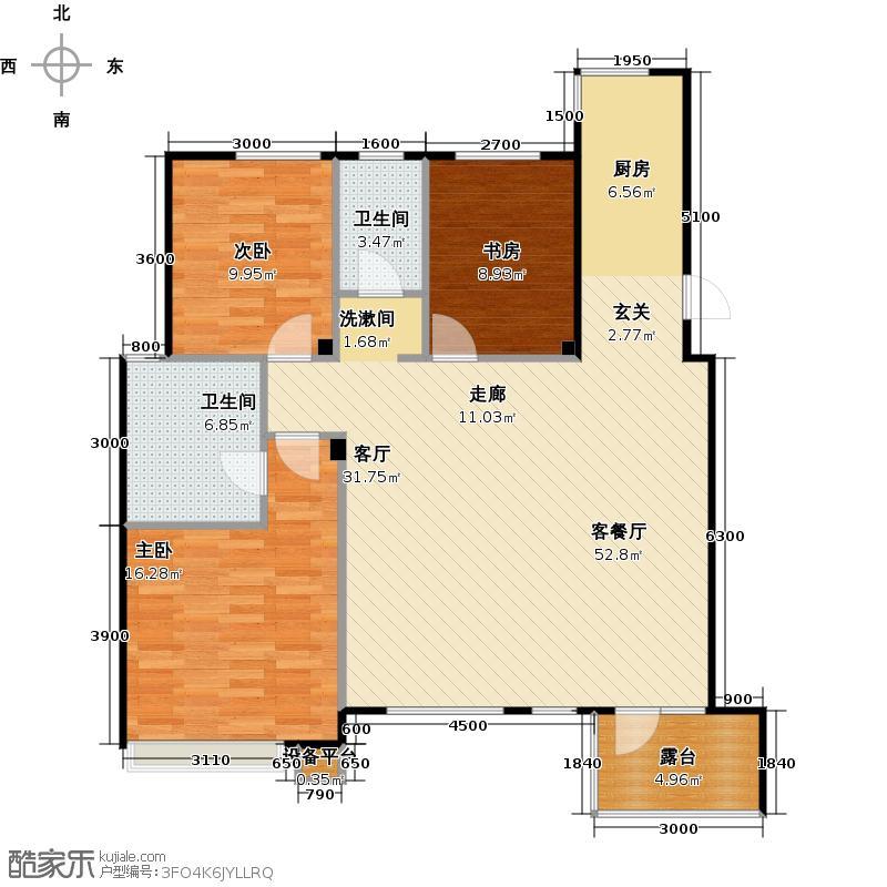 宏发华城世界三千院三室二厅二卫 120。66平方米户型