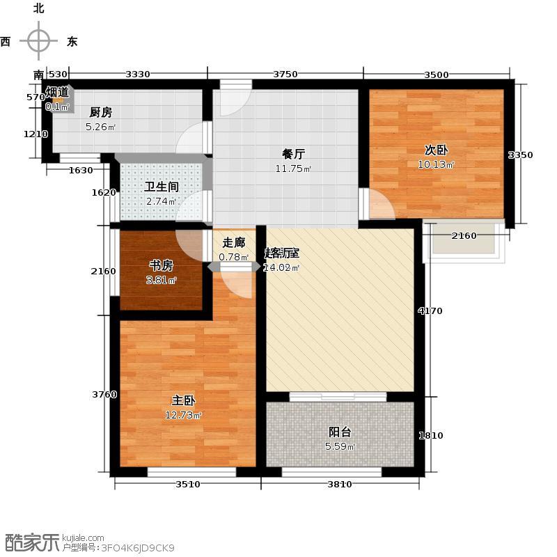 豪森名邸94.00㎡a2三室两厅一卫94平户型3室2厅1卫