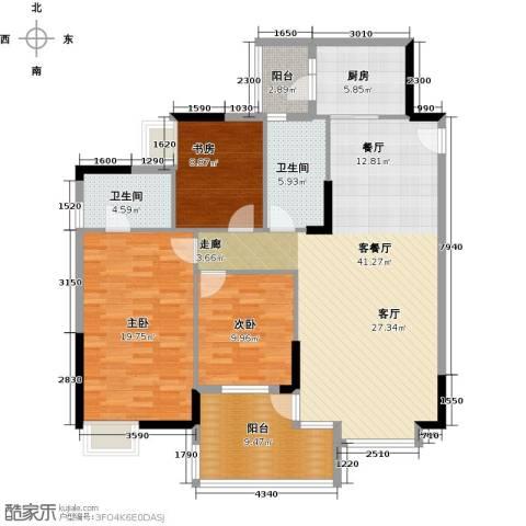 日出观山3室1厅2卫1厨151.00㎡户型图