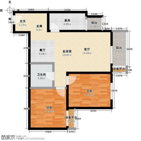 梵谷水郡(ZAMA三期)2室0厅1卫1厨96.00㎡户型图