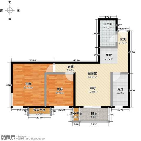 梵谷水郡(ZAMA三期)2室0厅1卫1厨90.00㎡户型图